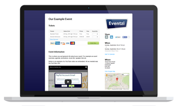 Online event registration and ticketing service